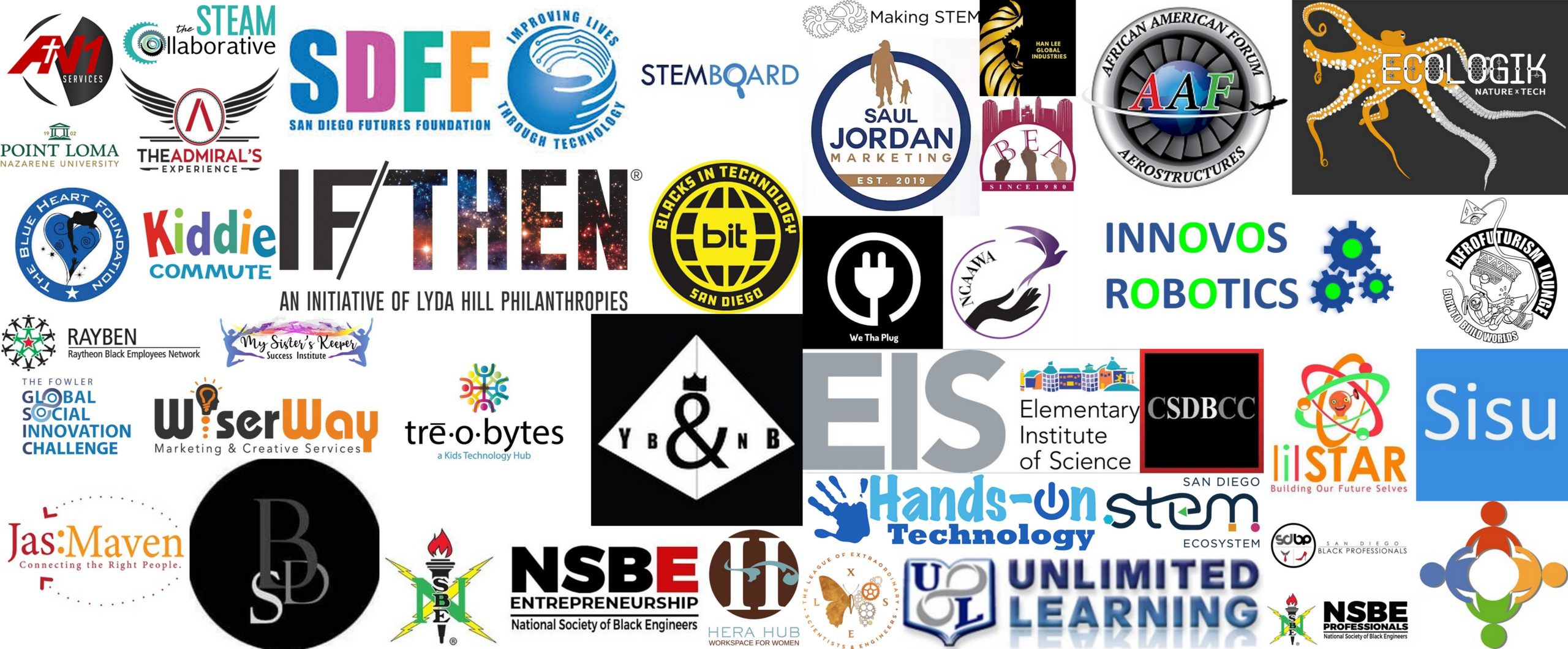 Logo collage of all the Collaborations I have created with The STEAM Collaborative during the first five years in business.