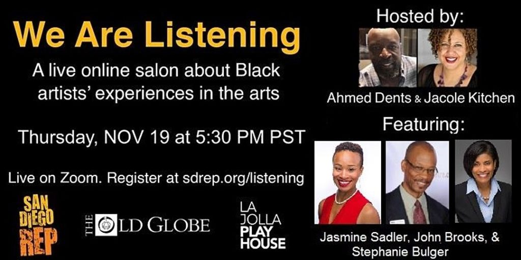 We Are Listening Flyer featuring photos of speakers and Jasmine L. Sadler